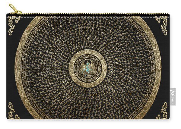 Tibetan Thangka - Green Tara Goddess Mandala With Mantra In Gold On Black Carry-all Pouch