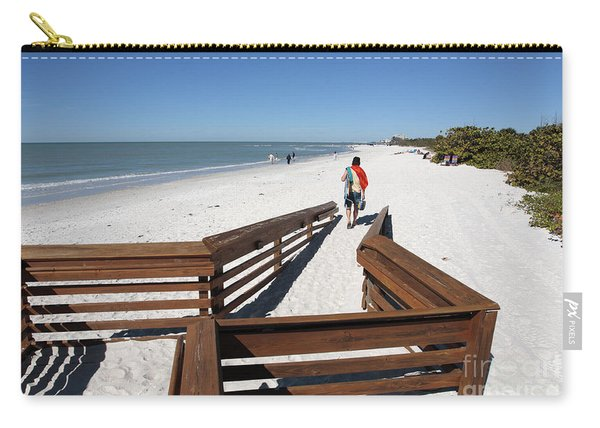 Tide Of Sand Over A Ramp On The Beach In Naples Florida Carry-all Pouch