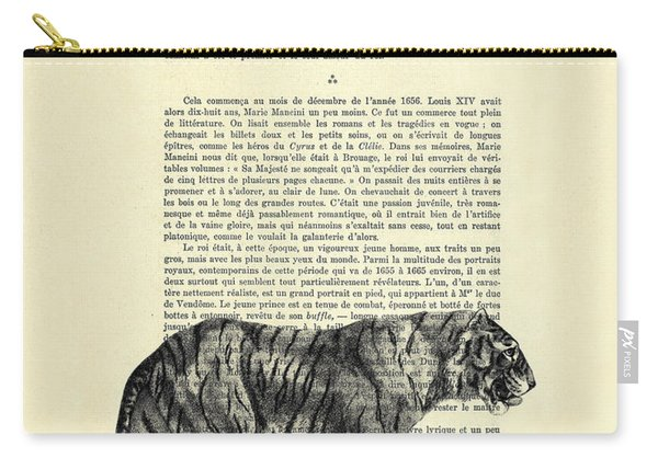 Tiger Black And White Illustration Carry-all Pouch