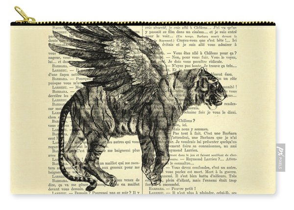 Tiger With Angel Wings In Black And White Carry-all Pouch
