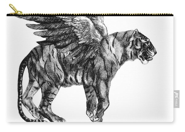 Tiger With Wings, Black And White Illustration Carry-all Pouch