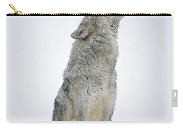 Timber Wolf Portrait Howling In Snow Carry-all Pouch