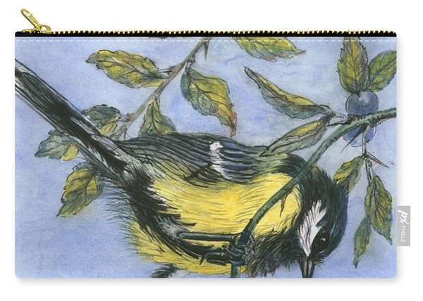 Tit In Blackthorn And Sloe Carry-all Pouch
