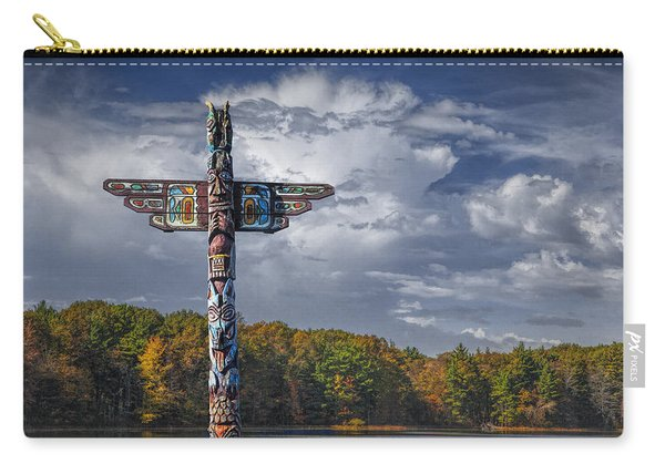 Totem Pole During Autumn By A Lake Carry-all Pouch