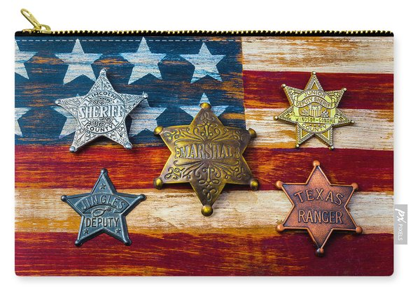 Toy Badges On America Flag Carry-all Pouch