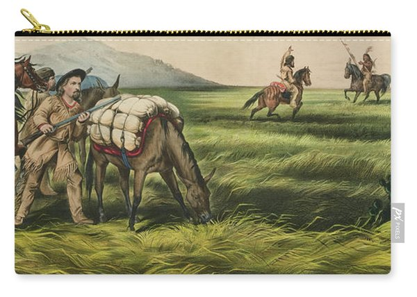 Trappers On The Prairie  Peace Or War Carry-all Pouch
