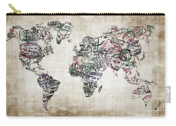 Traveler World Map Sepia Color Carry-all Pouch