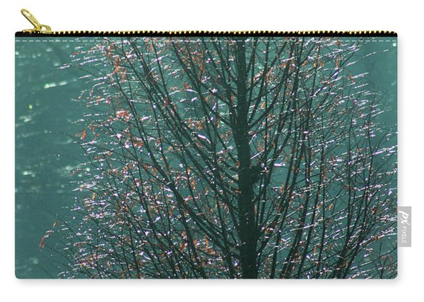 Tree In Autumn, With Red Leaves, Blue Background, Sunny Day Carry-all Pouch