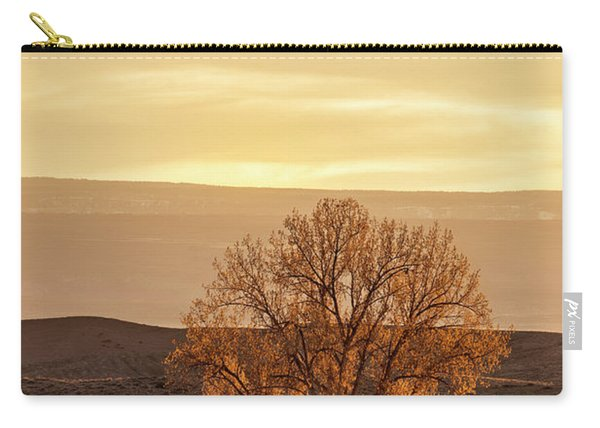 Tree In Desert At Sunset Carry-all Pouch