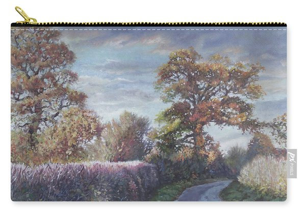 Carry-all Pouch featuring the painting Tree Lined Countryside Road by Martin Davey