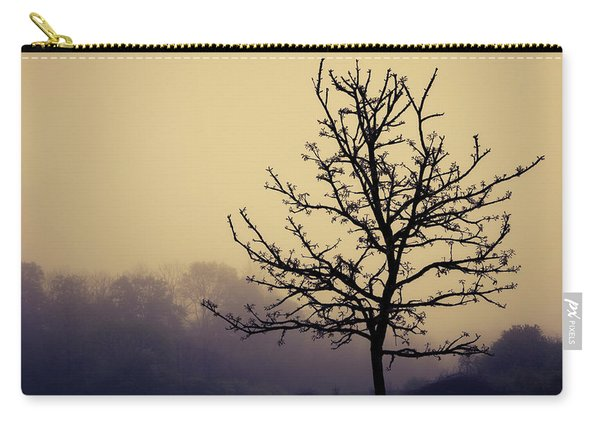 Tree Silhouette On A Foggy Morn Carry-all Pouch