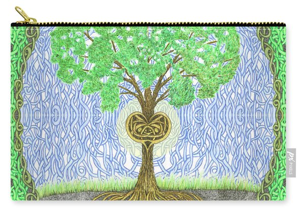 Tree With Heart And Sun Carry-all Pouch