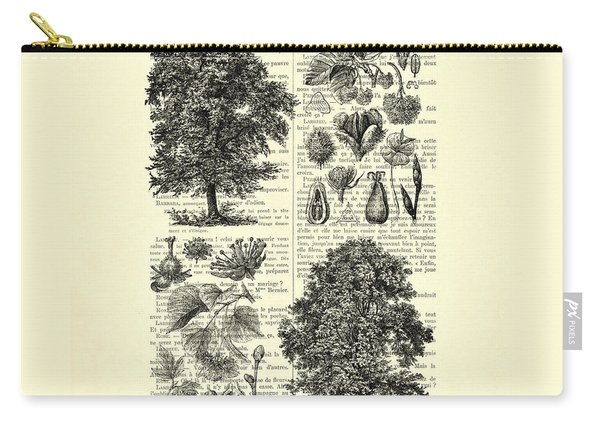 Trees And Seeds Black And White Carry-all Pouch