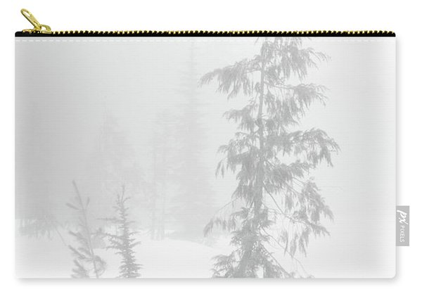 Carry-all Pouch featuring the photograph Trees In Fog Monochrome by Tim Newton