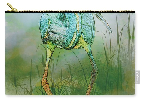 Tri-colored Heron Balancing Act - Colorized Carry-all Pouch