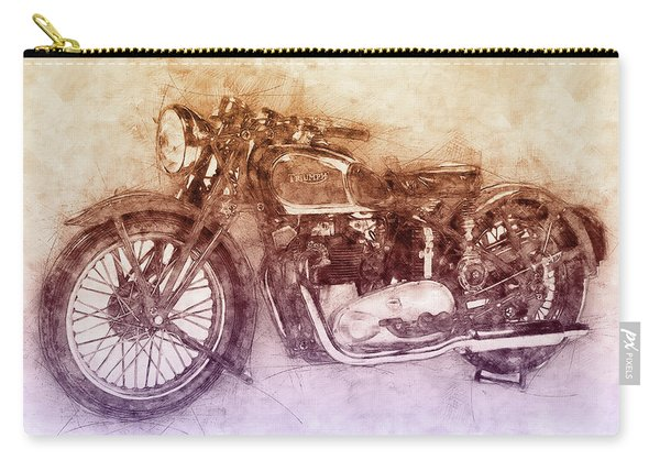 Triumph Speed Twin 2 - 1937 - Vintage Motorcycle Poster - Automotive Art Carry-all Pouch