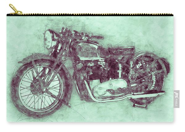 Triumph Speed Twin 3 - 1937 - Vintage Motorcycle Poster - Automotive Art Carry-all Pouch