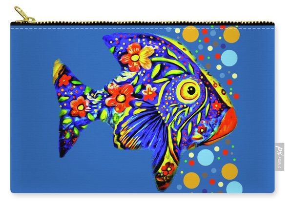 Carry-all Pouch featuring the digital art  Tropical Fish by Eleni Mac Synodinos