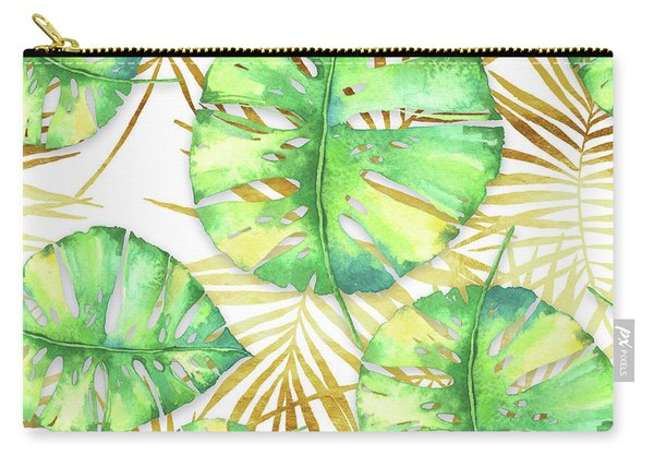 Tropical Haze Blanche Variegated Monstera Leaves, Golden Palm Fronds On Black Carry-all Pouch