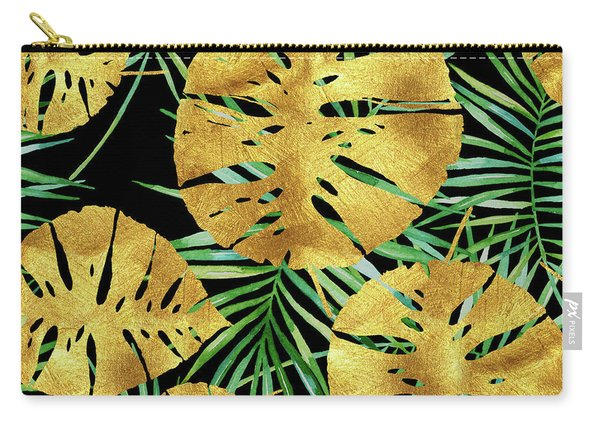 Tropical Haze Noir II Gold Monstera Leaves, Green Palm Fronds Carry-all Pouch