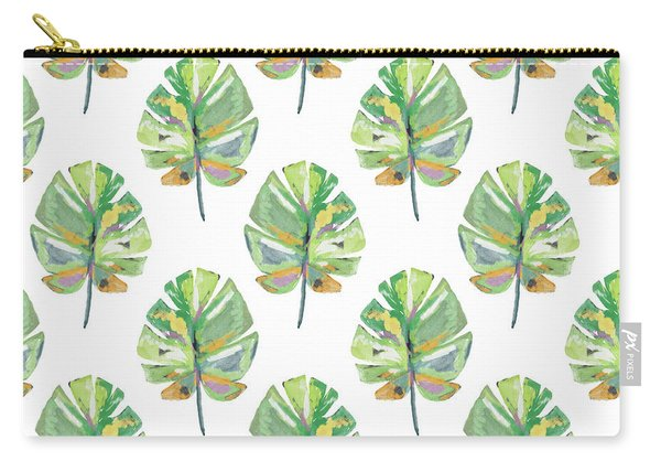 Tropical Leaves On White- Art By Linda Woods Carry-all Pouch