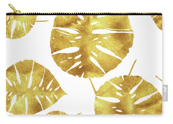 Tropiques Dor, Golden Tropics, Tropical Gold Monstera Leaves Carry-all Pouch