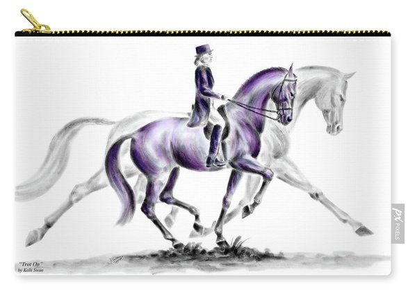 Trot On - Dressage Horse Print Color Tinted Carry-all Pouch