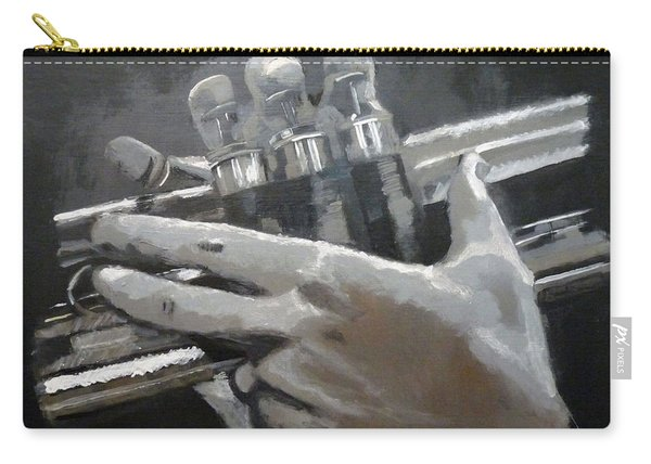 Carry-all Pouch featuring the painting Trumpet Hands by Richard Le Page