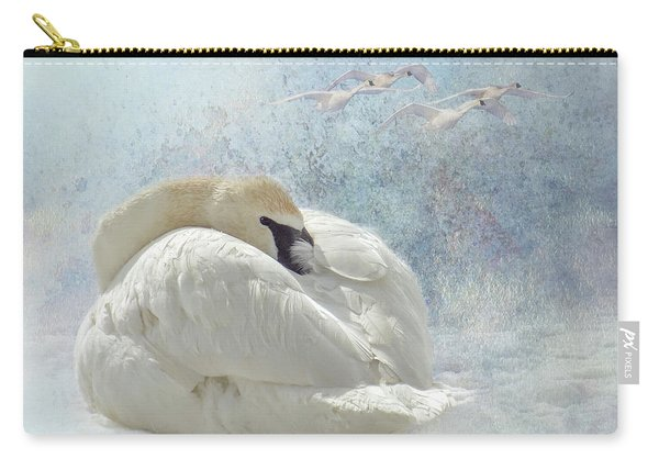 Trumpeter Textures #1 - Swan Feather Carry-all Pouch