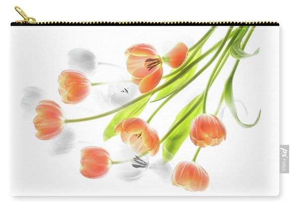 A Creative Presentation Of A Bouquet Of Tulips. Carry-all Pouch