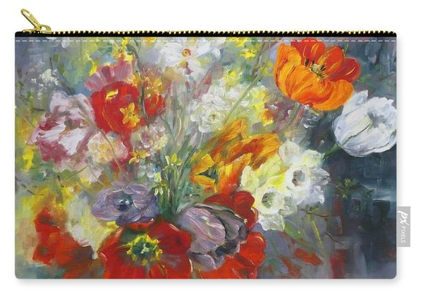 Carry-all Pouch featuring the painting Tulips, Narcissus And Forsythia by Ryn Shell