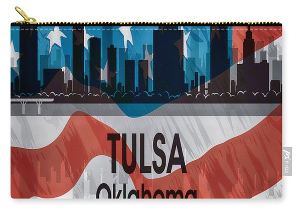 Tulsa Ok American Flag Vertical Carry-all Pouch