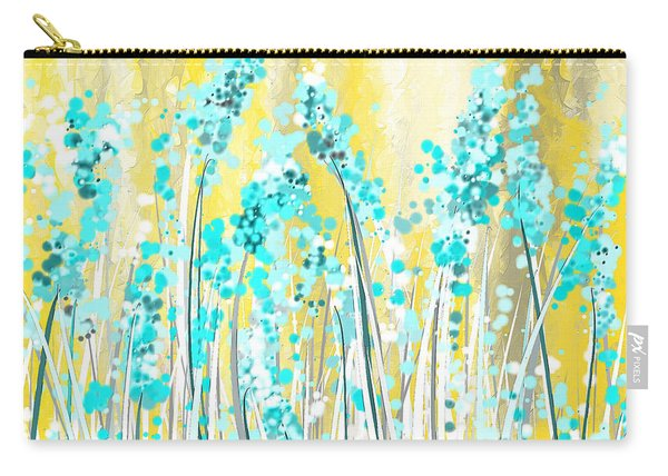 Turquoise And Yellow Carry-all Pouch