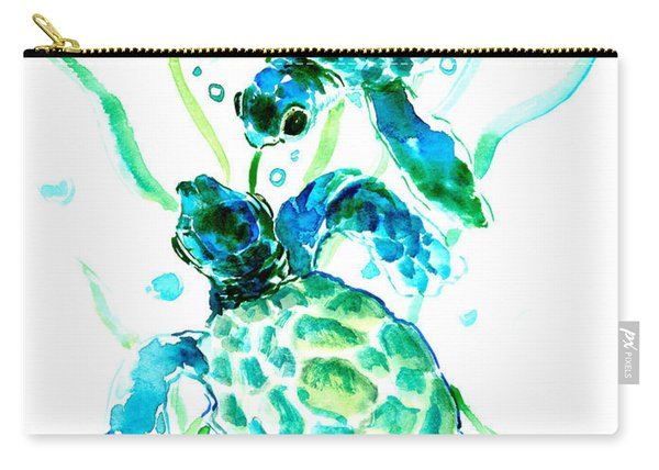 Turquoise Indigo Sea Turtles Carry-all Pouch
