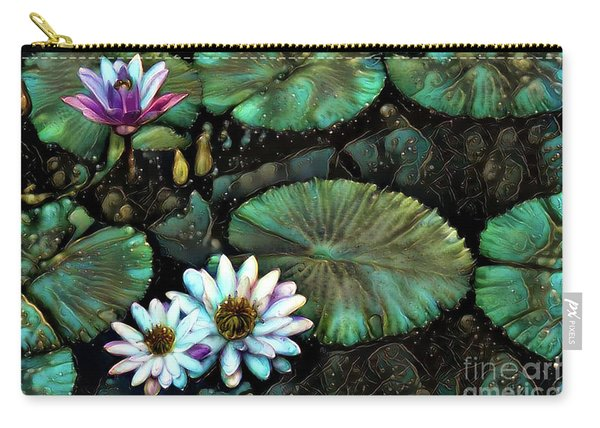 Turquoise Waterlilies 8 Carry-all Pouch
