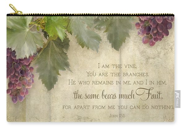 Tuscan Vineyard - Rustic Wood Fence Scripture Carry-all Pouch