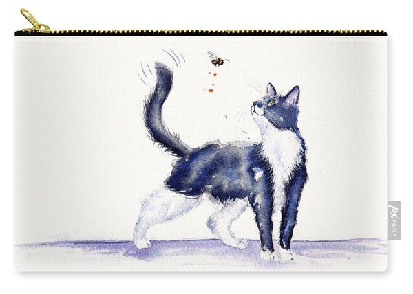 Tuxedo Cat And Bumble Bee Carry-all Pouch