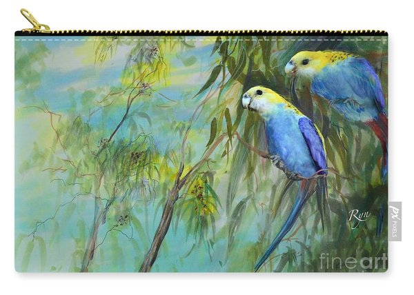 Carry-all Pouch featuring the painting Two Pale-faced Rosellas by Ryn Shell