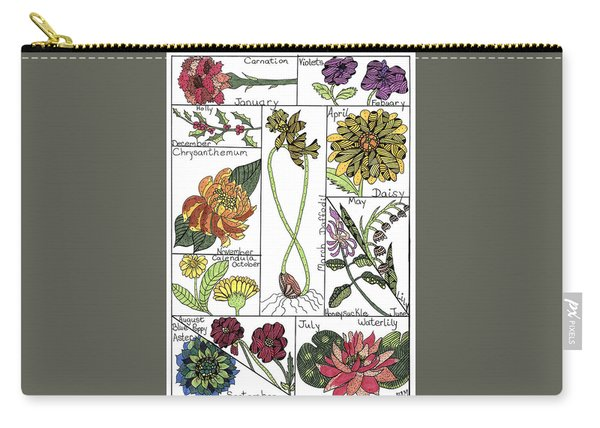 Carry-all Pouch featuring the drawing Twelve Month Flower Box by Barbara McConoughey