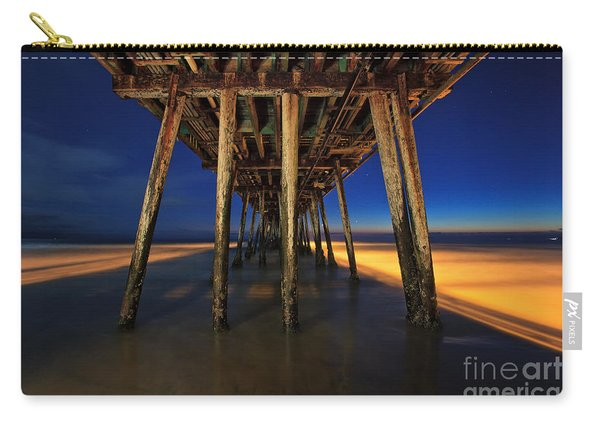 Carry-all Pouch featuring the photograph Twilight Under The Imperial Beach Pier San Diego California by Sam Antonio Photography