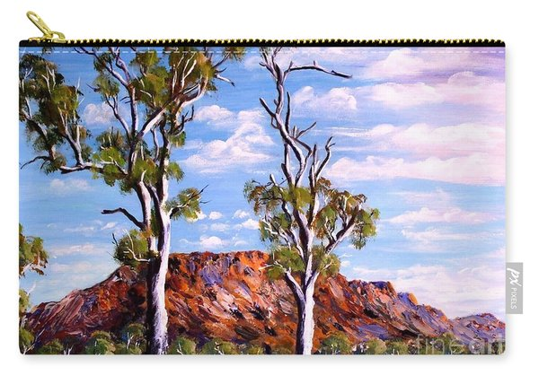 Carry-all Pouch featuring the painting Twin Ghost Gums Of Central Australia by Ryn Shell