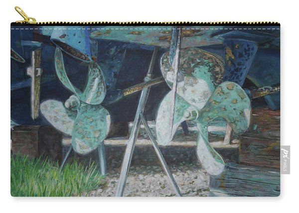 Carry-all Pouch featuring the painting Twin Propellers On Blue Boat by Martin Davey