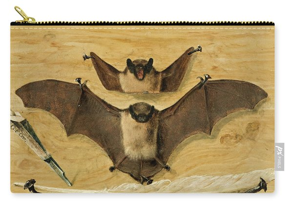 Two Bats Nailed To A Timber Wall, Knife And Quill Pen Carry-all Pouch