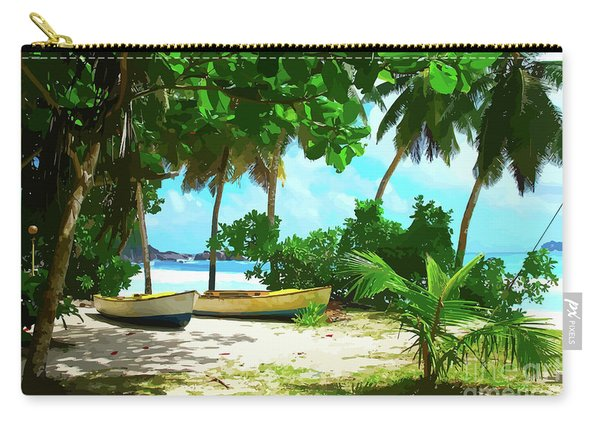 Two Boats On Tropical Beach Carry-all Pouch