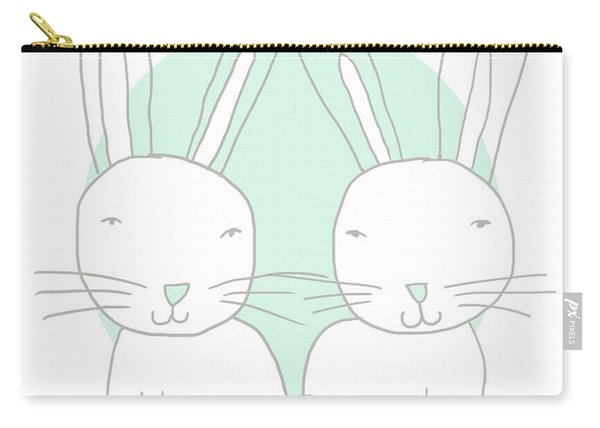 Two Bunnies- Art By Linda Woods Carry-all Pouch