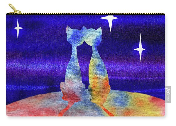 Two Cats Starry Night Silhouette Carry-all Pouch