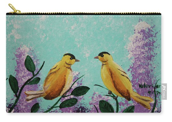 Two Chickadees Standing On Branches Carry-all Pouch