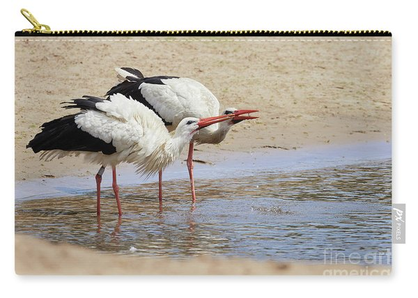 Two Drinking White Storks Carry-all Pouch