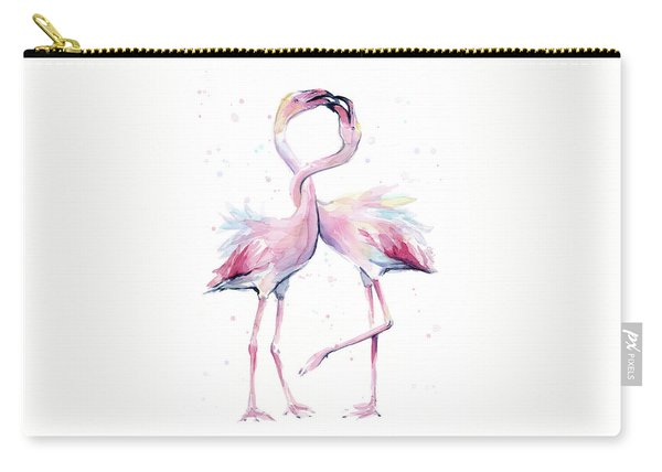 Two Flamingos Watercolor Famingo Love Carry-all Pouch