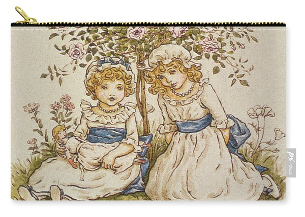 Two Girls With Dolls Sitting Under A Rose Bush, 19th Century Carry-all Pouch